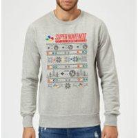 Nintendo SNES Pattern Christmas Sweatshirt - Grey - S - Grey
