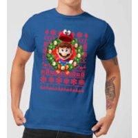 Image of Nintendo Super Mario Mario and Cappy Men's Christmas T-Shirt - Royal Blue - XXL - Royal Blue