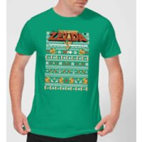 Nintendo Legend Of Zelda Pattern Men's Christmas T-Shirt - Kelly Green - XXL - Kelly Green