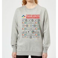 Nintendo Christmas SNES Pattern Women's Sweatshirt - Grey - 4XL - Grey