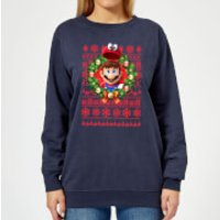 Nintendo Super Mario Mario and Cappy Women's Christmas Sweatshirt - Navy - M - Navy