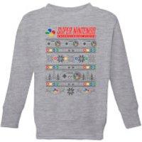 Image of Nintendo SNES Pattern Kid's Christmas Sweatshirt - Grey - 5-6 Years - Grey