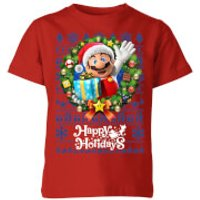 Nintendo Super Mario Happy Holidays Mario Kid's Christmas T-Shirt - Red - 11-12 Years - Red