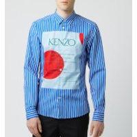 KENZO Men's Front Logo Stripe Shirt - Cobalt - L - Blue