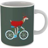 Biking Reindeer Christmas Mug