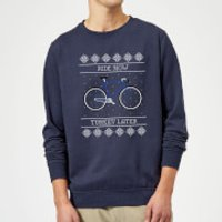 Ride Now, Turkey Later Christmas Sweatshirt - Navy - XXL - Navy