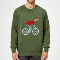 Biking Reindeer Christmas Sweatshirt - Forest Green - M - Forest Green