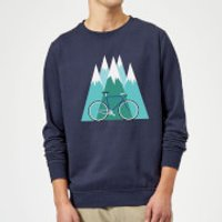 Bike and Mountains Christmas Sweatshirt - Navy - L - Navy