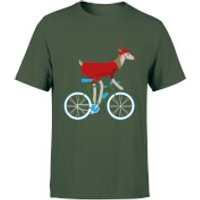 Biking Reindeer Men's Christmas T-Shirt - Forest Green - S - Forest Green