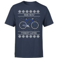 Ride Now, Turkey Later Men's Christmas T-Shirt - Navy - L - Navy