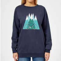 Bike and Mountains Women's Christmas Sweatshirt - Navy - XS - Navy