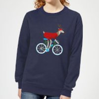Biking Reindeer Women's Christmas Sweatshirt - Navy - XXL - Navy