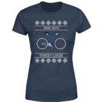 Ride Now, Turkey Later Women's Christmas T-Shirt - Navy - L - Navy