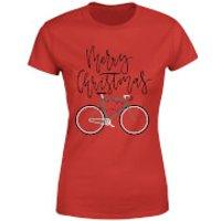 Bike Lights Women's Christmas T-Shirt - Red - XS - Red