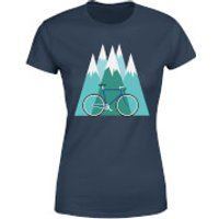 Bike and Mountains Women's Christmas T-Shirt - Navy - L - Navy