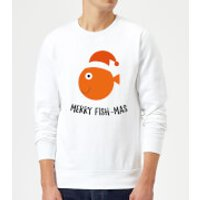 Merry Fish-Mas Christmas Sweatshirt - White - S - White
