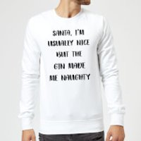 Santa I'm Usually Nice But The Gin Made Me Naughty Christmas Sweatshirt - White - S - White