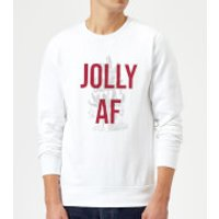 Jolly AF Christmas Sweatshirt - White - XL - White