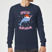 Joyeux Narwhal Christmas Sweatshirt - Navy - 3XL - Navy