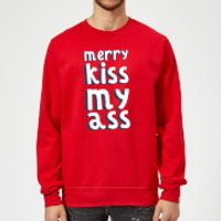 Merry KissMyAss Christmas Sweatshirt - Red - XL - Red