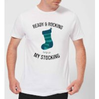 Ready & Rocking Hung Up My Stocking Men's Christmas T-Shirt - White - L - White