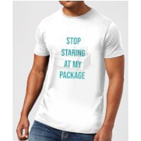 Stop Staring At My Package Men's Christmas T-Shirt - White - XXL - White