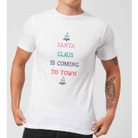 Santa Claus Is Coming To Town Men's Christmas T-Shirt - White - XXL - White