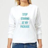 Stop Staring At My Package Women's Christmas Sweatshirt - White - M - White