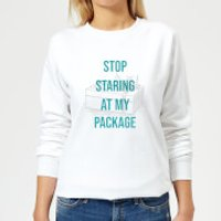 Stop Staring At My Package Women's Christmas Sweatshirt - White - L - Weiß