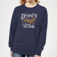 Dachshund Through The Snow Women's Christmas Sweatshirt - Navy - XS - Navy