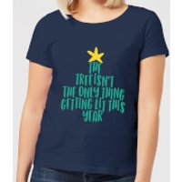 The Tree Isn't The Only Thing Getting Lit This Year Women's Christmas T-Shirt - Navy - XXL - Navy