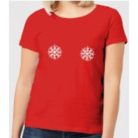 Snowflakes Women's Christmas T-Shirt - Red - XL - Red