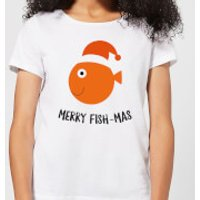 Merry Fish-Mas Women's Christmas T-Shirt - White - 3XL - White