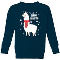 Fleece Navidad Kids' Christmas Sweatshirt - Navy - 5-6 Years - Navy