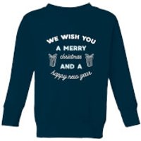 We Wish You A Merry Christmas and A Happy New Year Kids' Christmas Sweatshirt - Navy - 11-12 Years -