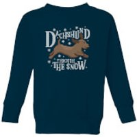 Dachshund Through The Snow Kids' Christmas Sweatshirt - Navy - 11-12 Years - Navy