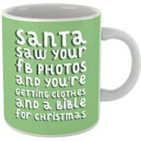 Santa Saw Your FB Photos Mug - Photos Gifts