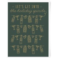 Let's Get Into The Christmas Spirits Art Print - A3 - Wood Hanger