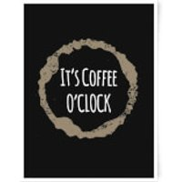 It's Coffee O'Clock Art Print - A3 - Wood Frame