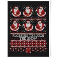Flossing Through The Snow Art Print - A2 - White Frame