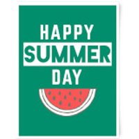 Happy SUmmer Day Art Print - A4 - Wood Frame - Summer Gifts