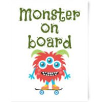 Monster On Board Art Print - A3 - No Hanger