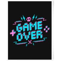 Game Over Gaming Art Print - A3 - Wood Frame - Game Gifts