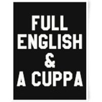 Full English and A Cuppa Art Print - A3 - Wood Hanger