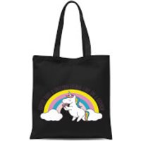 Happier Than A Unicorn Eating Cake Tote Bag - Black - Eating Gifts
