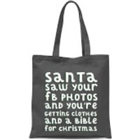 Santa Saw Your FB Photos Tote Bag - Grey - Photos Gifts