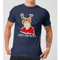 Whos Your Mutti? Mens Christmas T-Shirt - Navy - L - Navy