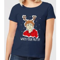 Who's Your Mutti? Women's Christmas T-Shirt - Navy - S - Navy
