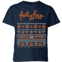 How Ridiculous Forty Four Knit Kids' Christmas T-Shirt - Navy - 11-12 Years - Navy