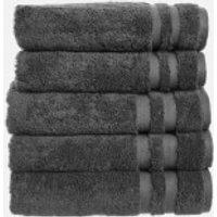 in homeware 100% Egyptian Cotton Pile 5 Piece Towel Bale - Dark Grey